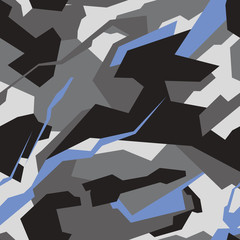 Geometric camouflage seamless pattern. Abstract modern military camo texture