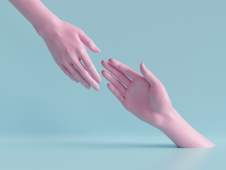 3d render, beautiful hands isolated, female mannequin body parts, minimal fashion background, helping hands, blessing, partnership concept, pink blue pastel colors