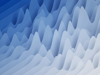 3d render, abstract paper shapes background, sliced layers, waves, hills, equalizer