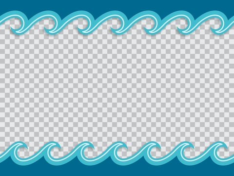 Paper cut out frame of waves in origami nautical style