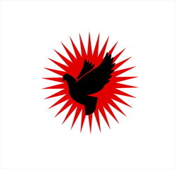 vector image of flying bird for animal silhouette