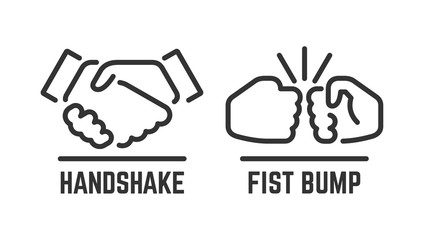 Vector handshake and fist bump outline icon with agreement or partnership line pictogram.