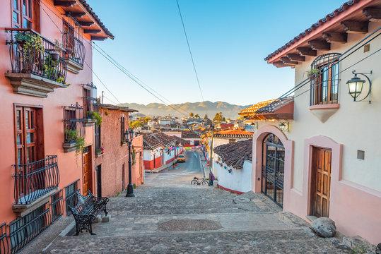 Beautiful colonial alleys and streets of San Cristobal de las Casas magical town in Chiapas, Mexico