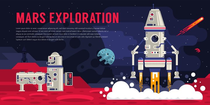 Space landing module lands on Mars. Landscape with a space station on an alien planet. Vector illustration.