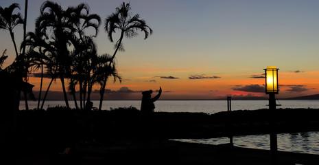 Silhouette of a Hawaiian hula dancer performing near the ocean at sunset with palm trees on the beach, Lahaina, Maui, Hawaii