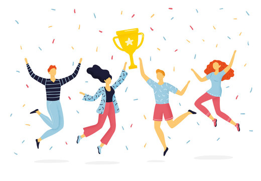 Happy group of people jumping for joy and holding up winning cup. The funny hand-drawn concept of teamwork, success, partnership or active lifestyle.