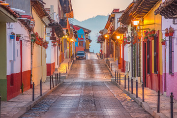 Beautiful streets and colorful facades of San Cristobal de las Casas in Chiapas, Mexico