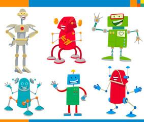 Cartoon Robots Funny Characters Set