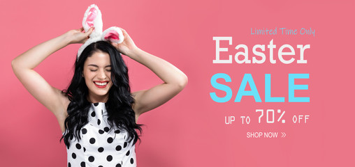 Easter sale message with young woman with Easter theme