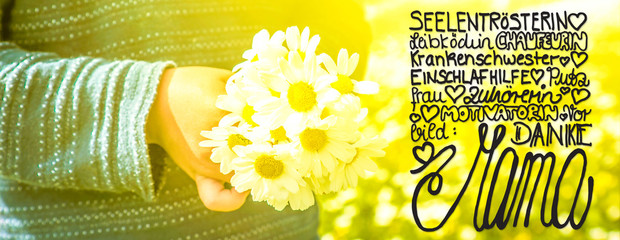 Cute Little Boy, Bouquet Daisy, Calligraphy Danke Mama Means Thank You Mom