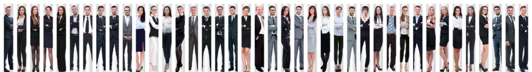 panoramic collage of a large and successful business team