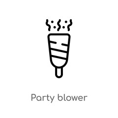 outline party blower vector icon. isolated black simple line element illustration from birthday and party concept. editable vector stroke party blower icon on white background