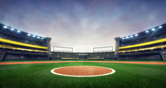 Grand baseball stadium field spot daylight view, modern public sport building 3D render background.