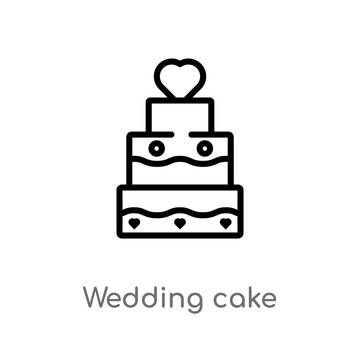 outline wedding cake vector icon. isolated black simple line element illustration from love & wedding concept. editable vector stroke wedding cake icon on white background