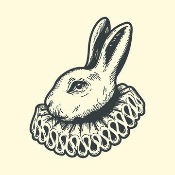 White Rabbit, dressed as herald, Alice's Adventures in Wonderland, vintage engraving style.