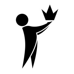 The man holds the crown in his hands the icon. Premium quality symbol. Business success and leadership concept. Tample logotype