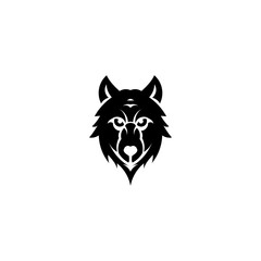 Wolf bolt Emblem, mascot head silhouette, Template for business or t-shirt design. Vector