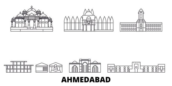India, Ahmedabad flat travel skyline set. India, Ahmedabad black city vector panorama, illustration, travel sights, landmarks, streets.