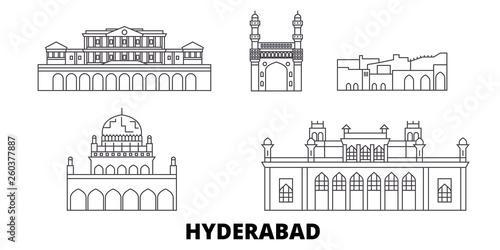India, Hyderabad flat travel skyline set  India, Hyderabad