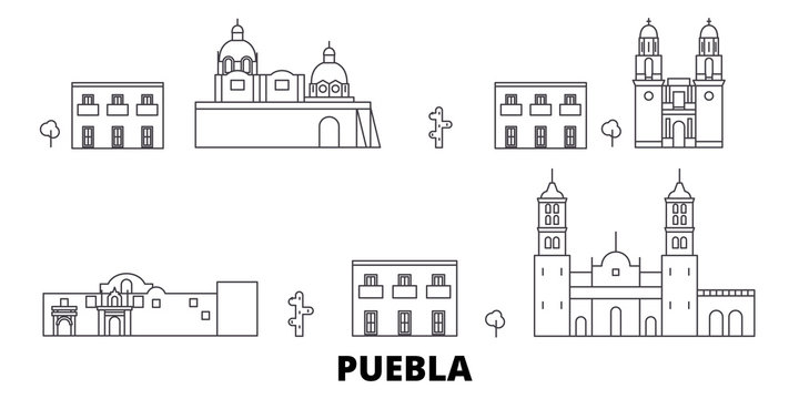 Mexico, Puebla flat travel skyline set. Mexico, Puebla black city vector panorama, illustration, travel sights, landmarks, streets.