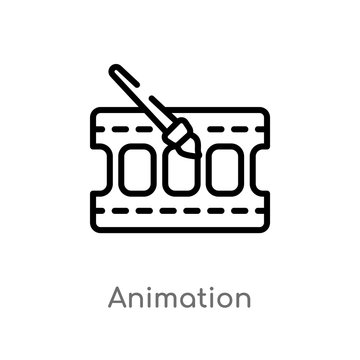 outline animation vector icon. isolated black simple line element illustration from cinema concept. editable vector stroke animation icon on white background