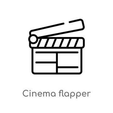 outline cinema flapper vector icon. isolated black simple line element illustration from cinema concept. editable vector stroke cinema flapper icon on white background