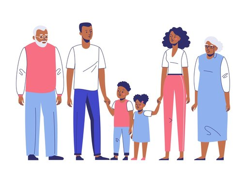 Happy young african american family dad, mom, son, grandmother and grandfather. Family black couple father and mother with child, gandpa and grandma standing together. Happiness and love concept.