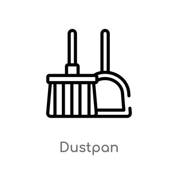 outline dustpan vector icon. isolated black simple line element illustration from cleaning concept. editable vector stroke dustpan icon on white background
