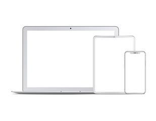 Obraz Set of white devices: laptop, tablet and phone. Vector - fototapety do salonu