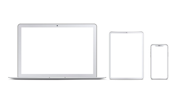 Set of white devices: laptop, tablet and phone. Vector