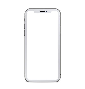 White smartphone with shadow. Vector