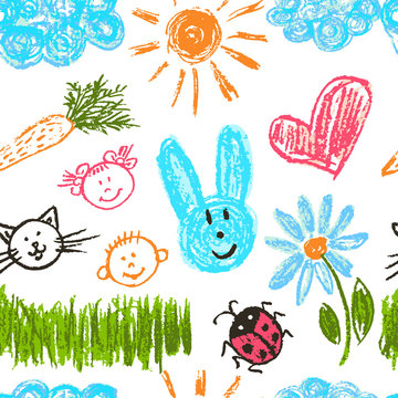Cute stylish seamless pattern. Draw pictures, doodle. Beautiful and bright design. Interesting images for backgrounds, textiles, tapestries. The sun, clouds, flowers, hare