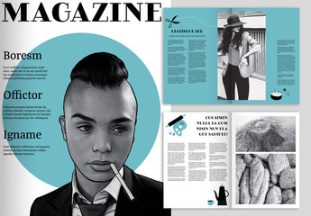 Magazine Layout with Mid-Century Themed Illustrations