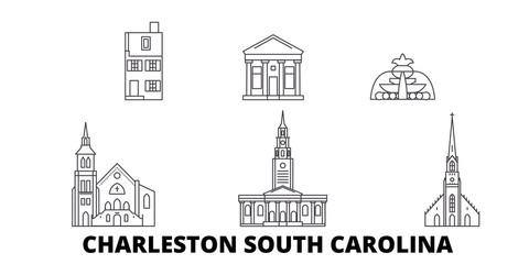 United States, Charleston South Carolina flat travel skyline set. United States, Charleston South Carolina black city vector panorama, illustration, travel sights, landmarks, streets.