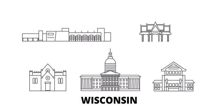 United States, Madison flat travel skyline set. United States, Madison black city vector panorama, illustration, travel sights, landmarks, streets.