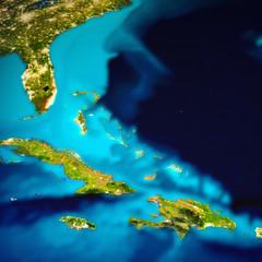 Wall Mural - Caribbean and Bahamas islands map