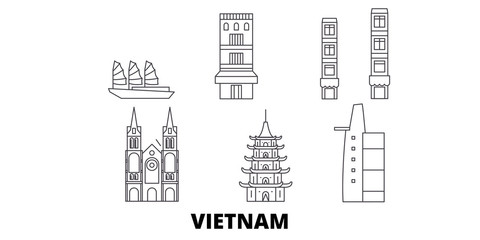 Vietnam flat travel skyline set. Vietnam black city vector panorama, illustration, travel sights, landmarks, streets.