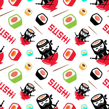 Sushi ninja with chinese sticks seamless pattern on a white background