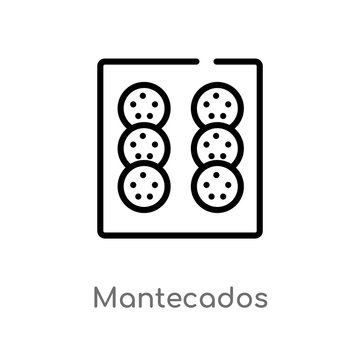 outline mantecados vector icon. isolated black simple line element illustration from culture concept. editable vector stroke mantecados icon on white background