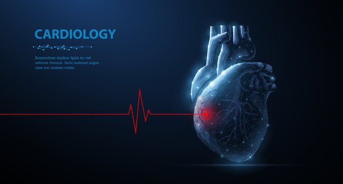 Heart. Abstract 3d vector human heart isolated on blue with red cardio puls line.