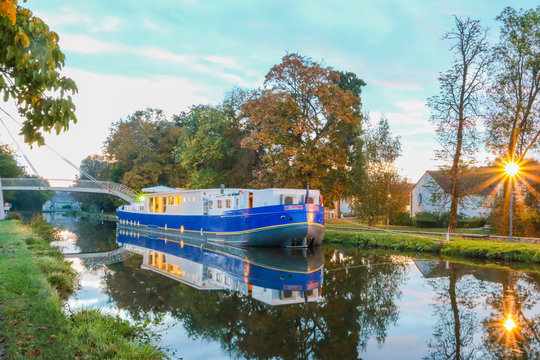 Canal cabin boat overnighting on the Canal Du Centre in Burgundy region of France