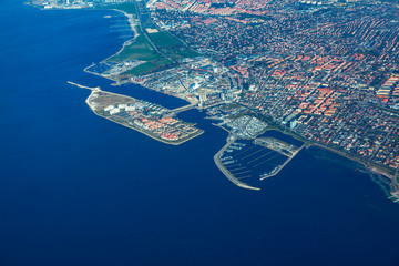Aerial coastal view of Malmo city from Sweden
