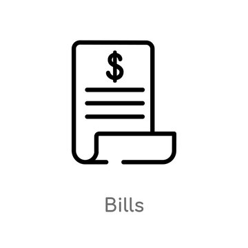 outline bills vector icon. isolated black simple line element illustration from e-commerce and payment concept. editable vector stroke bills icon on white background