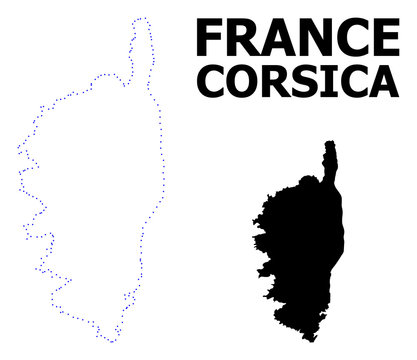 Vector Contour Dotted Map of Corsica with Name