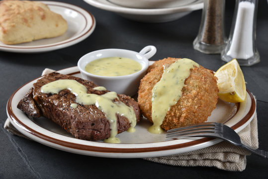 Gourmet steak and crab cakes