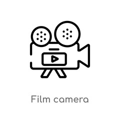 outline film camera vector icon. isolated black simple line element illustration from electronic stuff fill concept. editable vector stroke film camera icon on white background