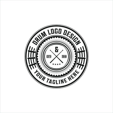 logo vintage music, drum