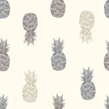 Seamless repeat pattern with half-drop pineapples in natural colors