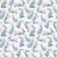 Hand painted watercolor rabbits background. Cute bunny seamless pattern