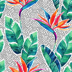 Fotobehang Grafische Prints Floral exotic seamless pattern. Watercolor tropical flowers on doodle background